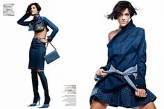 Ana Beatriz Barros by JR Duran for Vogue Brazil October 2013 A shirt worn backwards?! Really?! But I love the pencil skirt and leggings with heels...trashy smart.