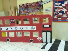London bus cut-out for kids to play with. I made it for our international day at school! The kids dressed up and took pictures riding the bus! School Projects, Projects For Kids, London Calling, English Day, Bus Crafts, British Party, British Values, Around The World Theme, Cultures Du Monde