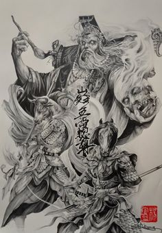 Chinese mythical characters,the king of hell and his two deities-guards(牛头马面)... by Elvin Yong   https://www.facebook.com/Elvintattooart