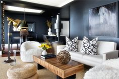 Masculine living room minus the furry chairs