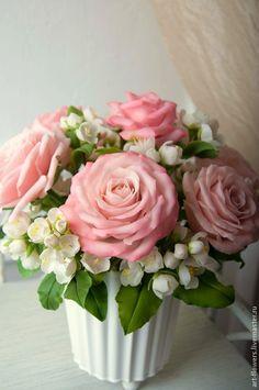 Розовые розы и жасмин - Елена Щеглова (art-flowers) - Ярмарка Мастеров http://www.livemaster.ru/item/8866585-tsvety-floristika-rozovye-rozy-zhasmin