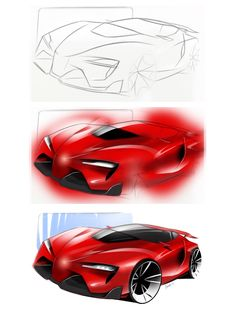 Toyota FT-1 sketch and render with photoshop  #transportationdesign #cardesign #carsketch #toyota #ft-1