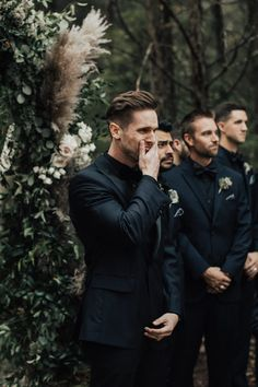 Enchanting Autumn Nashville Wedding at Drakewood Farm The deep colors and all black suits made this farm wedding wildly moody + romantic image by Katherine Joy Photography Perfect Wedding, Dream Wedding, Wedding Day, Wedding Venues, Wedding Groom, Trendy Wedding, Wedding Beauty, Men Wedding Attire, Groomsmen Wedding Photos