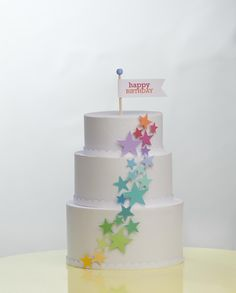 Paper Birthday Cake. Use as a centerpiece. Can hide gifts inside. | I Scrap, U Scrap