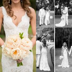 Vintage Full Lace Wedding Dresses Deep V Neck Backless Sleeveless Mermaid Chapel…