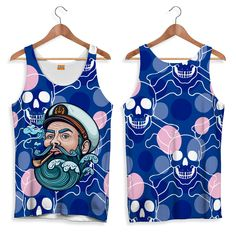 Hipster Sailor Tank-Top for Men. Tank- top with creative design, In synthetic stitch. Unicorn Bike, Hipster Cat, Men Beach, Mens Tees, Tank Tops, Tanks, Creative Design, Printed Shirts, Sailor