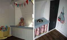 Easy cupboard idea: use deep set shelf, use fabric or oil cloth curtain beneath, jigsaw circle or rectangle out of top and drop in metal bowl or deep tray with lip into whole for simple sink.