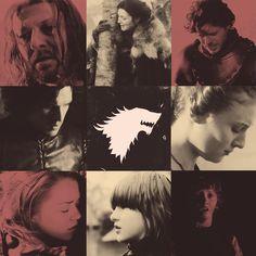 Eddard Stark, Catelyn Stark, Robb Stark, Jon Snow, Sansa Stark, Arya Stark, Brandon Stark, Rickon Stark. Winter is Coming