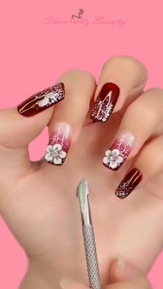 Flower Nail Art Ideas nail beauty- show you all kinds of nail desins and ideas for lady's beauty: beautiful nails, nail art, nail care, nail art designs, nails and beauty 3d Nail Designs, Nail Art Designs Videos, Nail Art Videos, Christmas Nail Art Designs, Christmas Nails, 3d Nails, Cute Nails, Gel Nail Art, Nail Polish