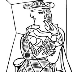 free coloring page of Pablo Picasso painting - Seated Woman. You be the master painter! Color this famous painting and many more! You can save your colored pictures, print them and send them to family and friends! Pablo Picasso, Kunst Picasso, Art Picasso, Picasso Paintings, Monster Coloring Pages, Online Coloring Pages, Free Coloring Pages, Coloring Books, Adult Coloring