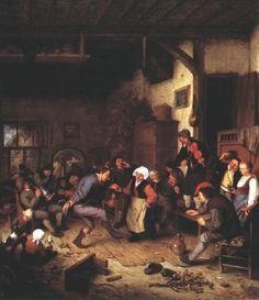 TICMUSart: Merrymakers in an Inn - Adriaen van Ostade (1674)