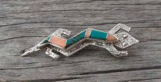 Navajo Vintage Silver Rose Coral Turquoise Gecko Brooch Pin, Navajo Gecko Brooch Pin, Turquoise Brooch Pin, Vintage Gift Jewelry, # Etsy USA