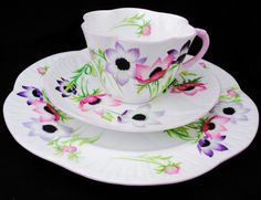 SHELLEY  DAINTY WIND FLOWER TEA CUP AND SAUCER TRIO PLATE #ShelleychinaWilemanTheFoleychinaENGLAND