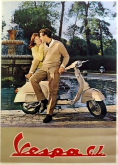 Vespa Scooter 1963 - original vintage poster listed on AntikBar.co.uk