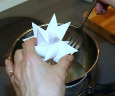 Easy tutorial to wax folded paper German Moravian Stars to make waterproof