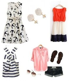 Nautical Party Attire << top right dress looks like the Egyptian flag though :p
