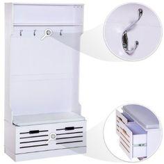 TecTake Guardaroba con panca con due cassetti in legno appendiabiti mobile ingresso: Amazon.it: Casa e cucina