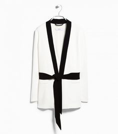MANGO Blazer with Detachable Bow in Off White