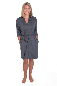 Grey Mommy Brobe - a robe with the bra built into it.