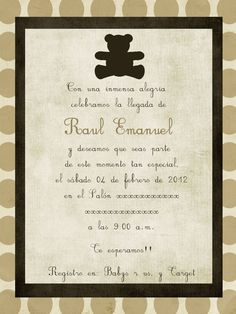baby boy invitation beige