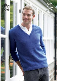 Men's Sweater & Cardigan knitting pattern in King Cole 4 Ply. Great knitting project for Father's Day! Get the Downloadable PDF from LoveKnitting.