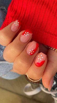 Red Shellac Nails, Shellac Nail Designs, Cute Gel Nails, Short Gel Nails, Red Acrylic Nails, Red Nail Designs, Short Nail Designs, Summer Shellac Designs, Flower Nail Designs