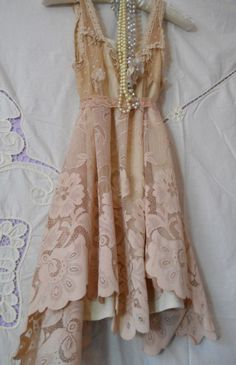 Beige lace tunic Tea stained vintage  top romantic    by vintage opulence on Etsy. $70.00, via Etsy.
