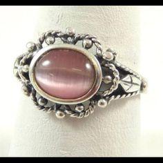 Vintage Pink Cats Eye .925 Rope Trim Ring +