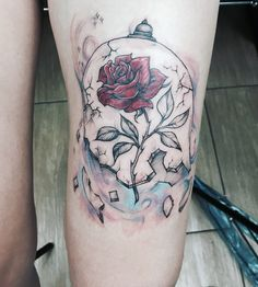 #tattooleg #beautyandthebeast #rose