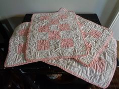 Vintage Doll Quilts Pink and White by FairchildsInc on Etsy