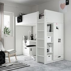 Loft Ikea, Loft Beds For Small Rooms, Tiny Bedrooms, Small Loft Bedroom, Loft Beds For Teens, Cool Loft Beds, Cool Beds For Kids, Cool Kids Bedrooms, Bed With Desk Underneath