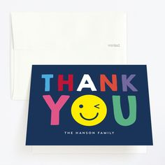"""""""Emoji Party"""" - Childrens Birthday Party Thank You Cards in Navy by Baumbirdy. Hanson Family, Thank You Cards From Kids, Sunshine Birthday, Emoji, Navy, Logos, Hale Navy, Logo, The Emoji"""