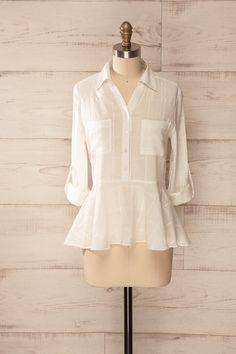 Horsham - Cream ruffled checkered blouse