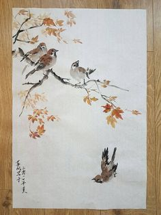 Original Traditional Chinese Brush Painting: Sparrows and Red does this make me want pokemon in traditional chinese watercolor? Japanese Watercolor, Japanese Painting, Watercolor Bird, Chinese Painting, Chinese Art, Japanese Art, Chinese Brush, Sumi E Painting, Watercolor Paintings