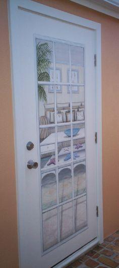 Faux French Door by TLC Interiors & Exteriors, Inc. Murals in Key Largo, FL Trompe L'oeil in Key Largo, FL. Murals in the Florida Keys.