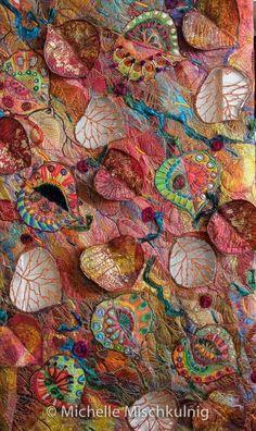 Michelle Mischkulnig Australian Textile Artist – Allegria – Colour for the Soul Chelle Textiles My textile art is an expression of my life… Textile Fiber Art, Textile Artists, Fiber Art Quilts, Fabric Art, Fabric Crafts, Canvas Fabric, Diy Crafts, Creative Textiles, Thread Painting
