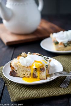 Spinach and Sausage Breakfast Casserole with Poached Eggs