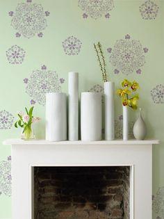 Random wall graphic stencil in purple on green. Different! Wall Stencils   Floral Medallion Set A   Royal Design Studio