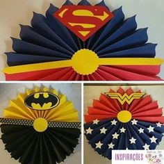 """Who here has already made """"paper rosettes"""" to decorate a party? It is a great option for those with doubts about what to do on the party panel, for Superman Birthday, Avengers Birthday, Superhero Birthday Party, Birthday Parties, Wonder Woman Birthday, Wonder Woman Party, Paper Rosettes, Paper Flowers, Comic Party"""