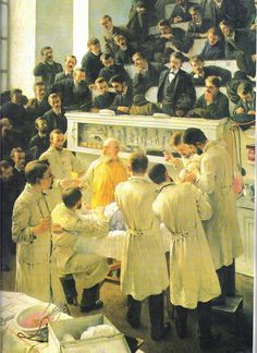 """""""Cirurgia feita pelo Dr. Theodor Billroth"""" - Adalbert Seligmannn Pintor austríaco (1862-1945)"""