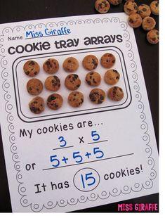 Arrays activities to make math fun - cookie tray arrays and so many more great ideas Maths 3e, Teaching Multiplication, Teaching Math, Teaching Time, Teaching Career, Fractions, Second Grade Math, 4th Grade Math, Grade 3