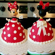New baby girl cake minnie Ideas Bolo Do Mickey Mouse, Bolo Da Minnie Mouse, Minnie Mouse Doll, Mini Mouse Birthday Cake, Mickey Mouse Birthday, Birthday Cake Girls, 3rd Birthday, Birthday Ideas, Bolo Barbie