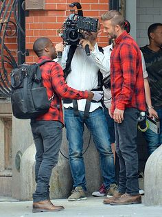 David Beckham and Kevin Hart shoot a commercial for H&M in New York #davidbeckham #kevinhart #hm #commercial #campaign #newyork