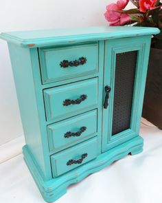 Upcycled Jewelry Box Distressed & Painted in Annie Sloan Chalk Paint Florence