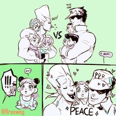 jojo's bizarre adventure kuujou joutarou jolyne cujoh higashikata jousuke giorno giovanna jean pierre polnareff hirose kouichi guido mista trish una nijimura okuyasu monochrome 1:1 aspect ratio english !! baby bib braid carrying coat double bun father and daughter hat heart multicolored hair muscle open mouth pompadour rainbowthinker single braid smile tied hair tongue tongue out twitter username two-tone hair younger