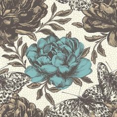 Papillon (W0034/01) - Clarke & Clarke Wallpapers - A dramatic large scale flower and butterfly design, with hand sketched effect botanical details and bold colourings.  Shown in the Aqua colourway. Please request sample for true colour match. Paste the wall.