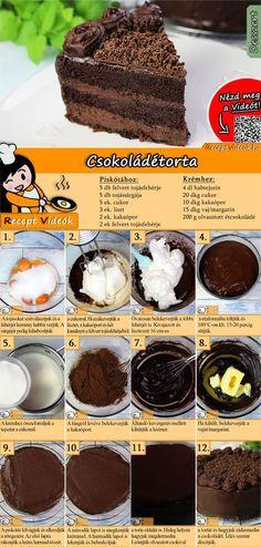 Az egyik legnépszerűbb torta a csokoládétorta, egy igazi klasszikus, világszerte kedvelt édes desszert! A Csokoládétorta recept videóját a kártyán levő QR kód segítségével bármikor megtalálod! :) #Csokoládétorta #Csokoládé #Csokitorta #ReceptVideók #Recept #Torta #Desszert #TortaRecept