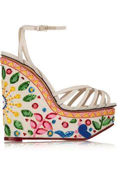 0cab60b2a5b Charlotte Olympia - Celebration Meredith embellished linen sandals