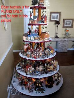 Details about HOW TO BUILD Display Stand Dept 56 Lemax Halloween Christmas village houses Christmas Tree Village Display, Halloween Village Display, Christmas Village Display, Christmas Village Houses, Christmas Villages, Xmas Tree, Halloween Christmas, Christmas Home, Christmas Wreaths