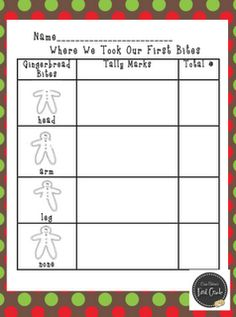 Gingerbread Boy tally sheet for graphing